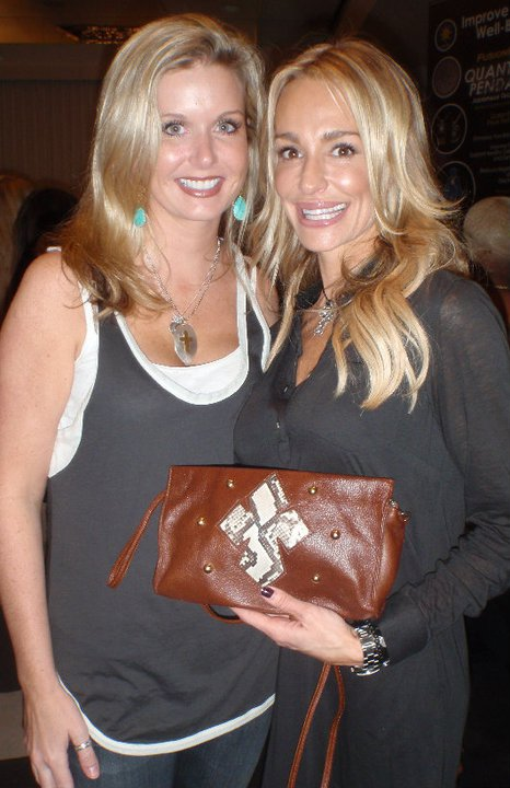 Katie Kalsi with Taylor Armstrong and her bag